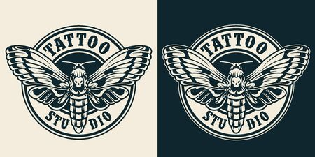 Vintage tattoo studio round label with beautiful death head butterfly in monochrome style isolated vector illustration