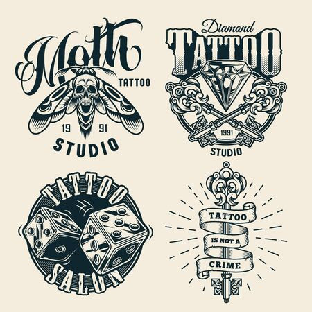 Vintage tattoo studio monochrome labels with crossed elegant medieval keys diamond dice scary death head moth with skull silhouette between wings isolated vector illustration