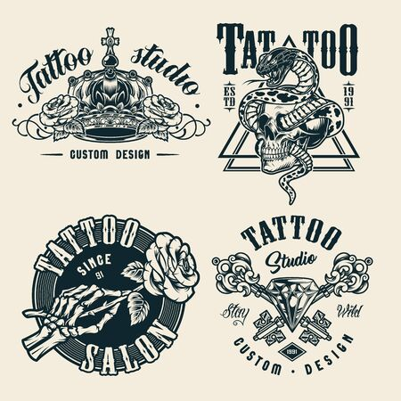 Vintage tattoo studio monochrome badges with ornate royal crown skeleton hand holding rose crossed antique elegant keys diamond snake entwined with skull isolated vector illustration