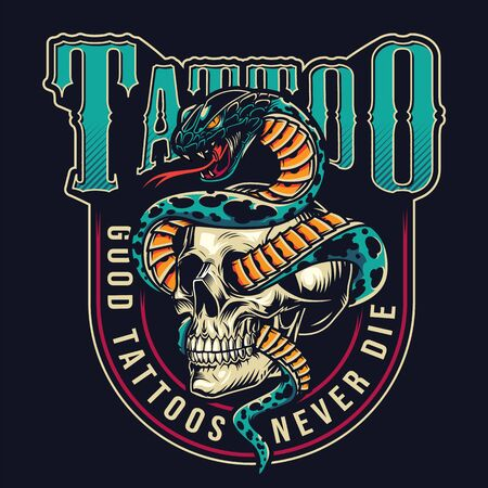 Vintage tattoo studio colorful label with snake entwined with skull on dark background isolated vector illustration