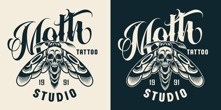 Vintage tattoo studio badge with scary death head moth with skull silhouette between wings in monochrome style isolated vector illustration Ilustração