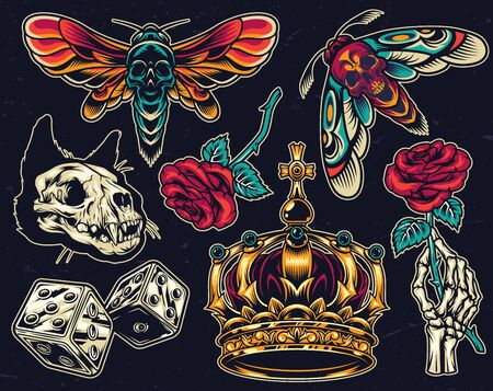 Vintage colorful tattoos collection with spooky insects cat skull dice royal crown skeleton hand holding rose flower on dark background isolated vector illustration