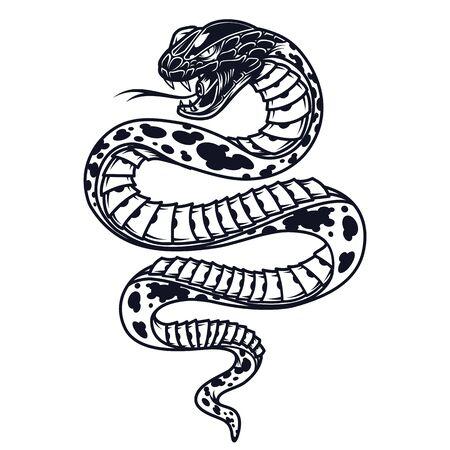 Plantilla de serpiente venenosa vintage en estilo monocromo aislado ilustración vectorial