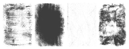 Abstract retro grunge frames set with different textures in black and white colors isolated vector illustration