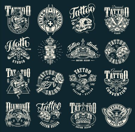 Vintage tattoo salon emblems with cross spider cat skull antique keys diamond spooky insects dice crown snake entwined with skull skeleton hand holding rose isolated vector illustration