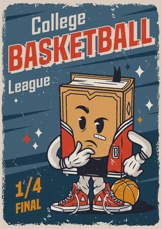 Vintage basketball college league colorful poster with meditative book character vector illustration