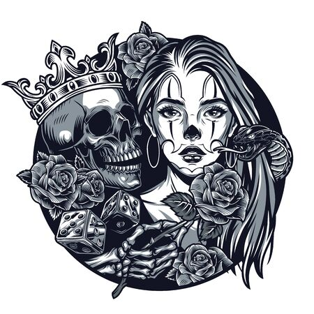 Vintage chicano tattoo round concept with beautiful girl skull in crown snake dice skeleton hand holding rose flower isolated vector illustration