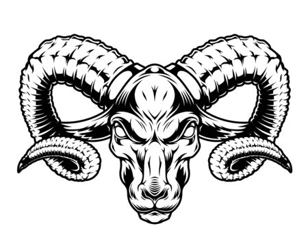 Monochrome serious ram head in vintage style isolated vector illustration