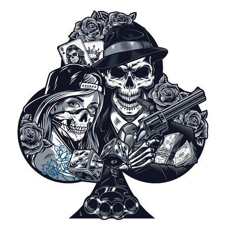 Modèle de tatouage chicano vintage avec une fille dans un masque effrayant squelette de gangster tenant revolver dés laiton poing américain packs d'argent fleurs roses cartes à jouer illustration vectorielle isolée Vecteurs