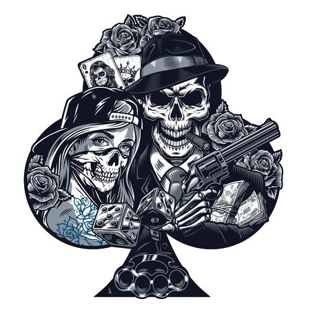 Vintage chicano tattoo template with girl in scary mask gangster skeleton holding revolver dice brass knuckles money packs rose flowers playing cards isolated vector illustration Banque d'images - 131929980