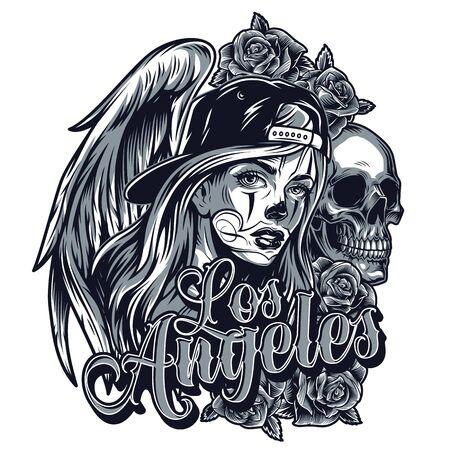 Concepto de tatuaje de estilo chicano vintage con chica guapa en gorra de béisbol, calavera, alas de ángel rosa e inscripción de Los Ángeles, ilustración vectorial aislada