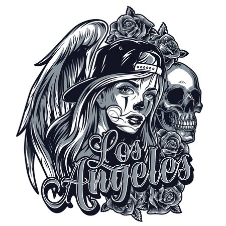 Vintage chicano style tattoo concept with pretty girl in baseball cap skull rose angel wings and Los Angeles inscription isolated vector illustration
