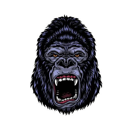 Colorful dangerous angry gorilla head in vintage style isolated vector illustration