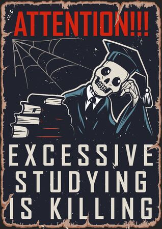 Vintage college colorful template with skeleton in mantle and graduation cap sitting near stack of books vector illustration