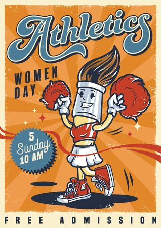 Colorful college poster with character of cute cheerleader brush holding pom-poms in vintage style vector illustration