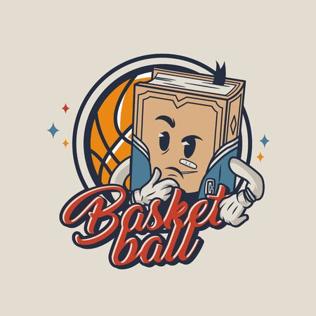 Colorful college sports badge with basketball ball and character of meditative book in vintage style isolated vector illustration Banco de Imagens - 131929826