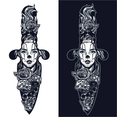 Vintage tattoo in dagger shape concept with beautiful chicano girl face roses dice brass knuckles in monochrome style isolated vector illustration