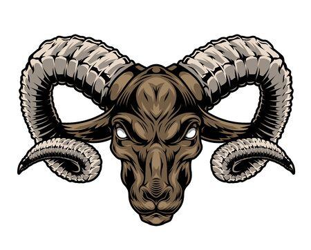 Cabeza de carnero cruel vintage colorido con cuernos grandes sobre fondo blanco aislado ilustración vectorial Ilustración de vector
