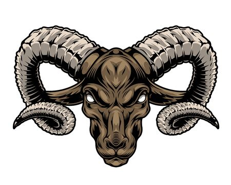 Colorful vintage cruel ram head with big horns on white background isolated vector illustration Stock Illustratie