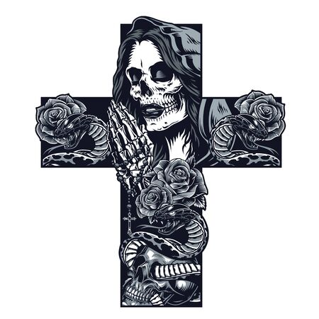 Vintage chicano cross shaped tattoo concept with praying skeleton hands holding rosary rose flowers snake entwined with skull and woman face with dead makeup isolated vector illustration Illustration