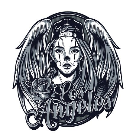 Vintage monochrome chicano tattoo template with beautiful girl wearing baseball cap angel wings rose flower and Los Angeles inscription isolated vector illustration