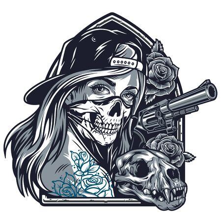 Fille chicano vintage avec des tatouages en casquette de baseball et masque effrayant rose fleurs chat crâne pistolet isolé illustration vectorielle