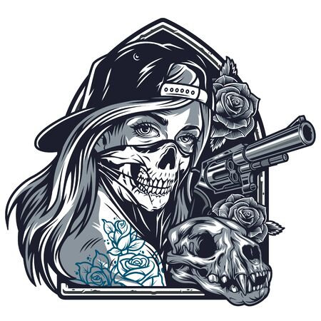 Vintage chicano girl with tattoos in baseball cap and scary mask rose flowers cat skull gun isolated vector illustration Banque d'images - 131929723