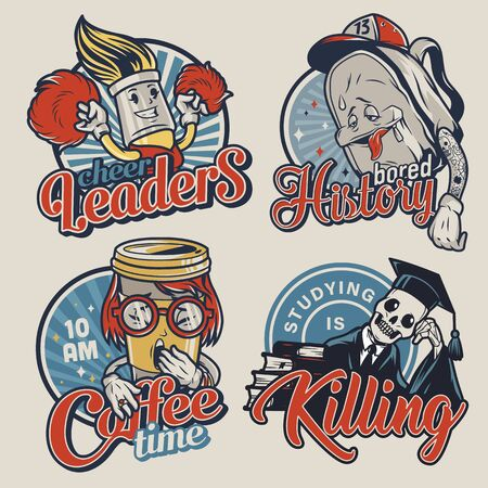 Vintage college funny colorful badges with cute characters of cheerleader brush tired schoolbag yawning coffee cup skeleton in mantle and graduation cap isolated vector illustration Ilustração