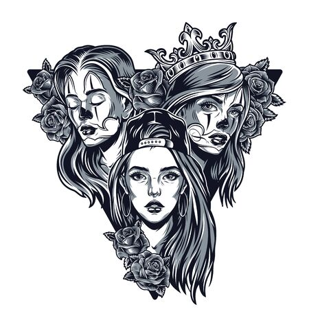 Triangular concept of pretty chicano girls in baseball cap royal crown and beautiful rose flowers in vintage monochrome style isolated vector illustration Çizim