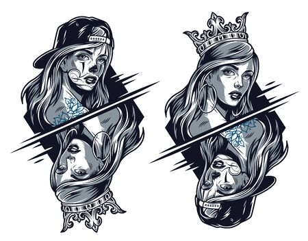 Chicano girls wearing crown and baseball cap in normal and reflected views in vintage style isolated vector illustration Çizim