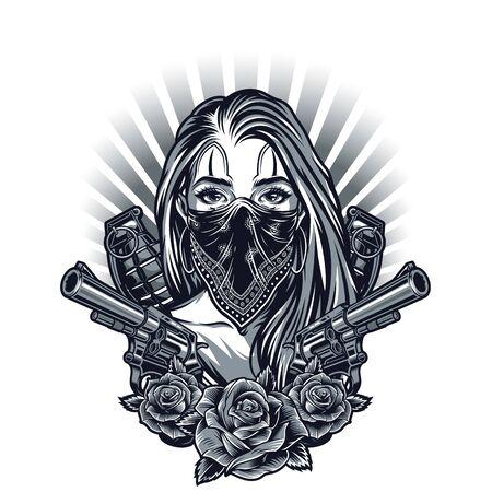Concept de tatouage chicano vintage avec une fille dans des grenades de pistolets à bandana et des fleurs roses isolées illustration vectorielle