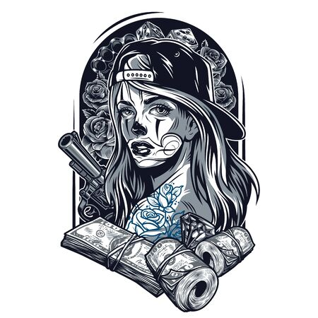 Vintage chicano tattoo concept with pretty girl in baseball cap revolver money packs roses brass knuckles diamond dice isolated vector illustration