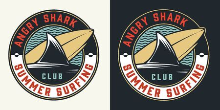 Vintage surfing club round colorful label with shark fin surfboard and sea waves isolated vector illustration