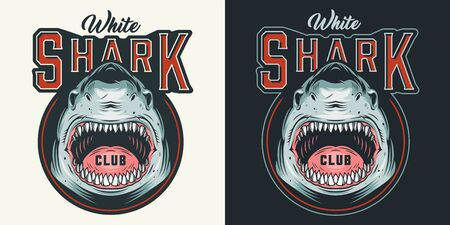 Vintage surfing club colorful logotype with aggressive dangerous shark with open mouth isolated vector illustration