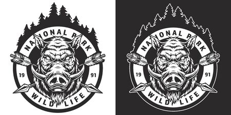 Vintage national park round badge with angry wild boar head crossed arrows forest landscape in monochrome style isolated vector illustration  イラスト・ベクター素材