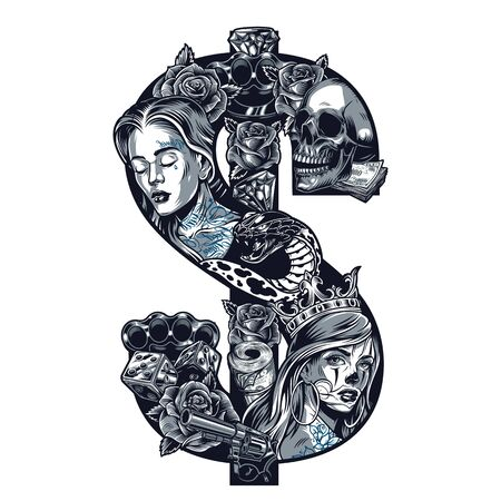 Vintage tattoo chicano style template in dollar sign shape with attractive girls heads skull roses brass knuckles snake diamonds gun money dice isolated vector illustration