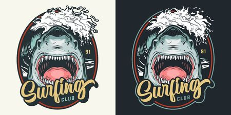 Colorful summer surfing club badge with angry shark and sea wave in vintage style isolated vector illustration
