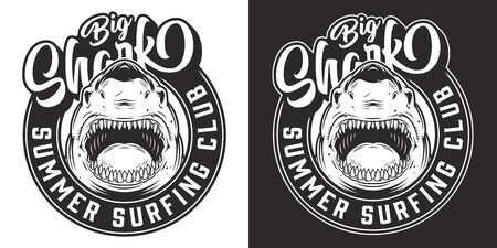 Vintage surfing club round emblem with cruel angry shark in monochrome style isolated vector illustration