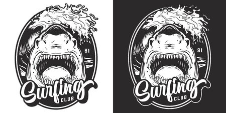 Monochrome summer surfing club label with dangerous angry shark and sea wave in vintage style isolated vector illustration 写真素材 - 132916757