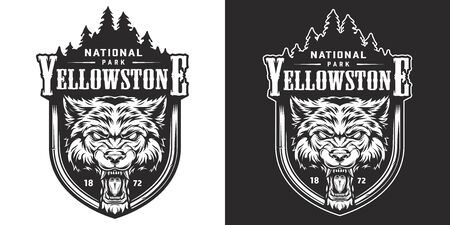 Vintage Yellowstone national park emblem with angry ferocious wolf head and forest landscape isolated vector illustration 일러스트