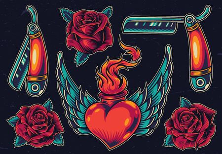 Colorful vintage flash tattoos collection with blooming rose flowers razors winged heart in wire with fire on dark background isolated vector illustration 일러스트