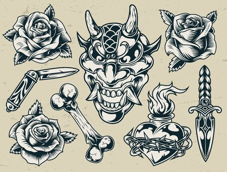 Vintage monochrome flash tattoo designs with devil head roses bone pocket knife dagger fiery heart in barbed wire isolated vector illustration Stock fotó - 132916879