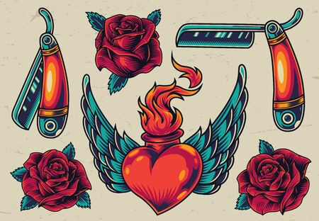 Colorful flash tattoo designs with straight razors blooming roses winged heart with fire in vintage style isolated vector illustration