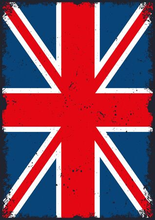 United Kingdom flag vertical template in vintage style vector illustration