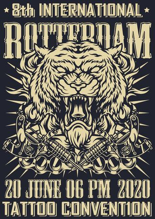 Tattoo fest vintage monochrome poster with aggressive tiger head crossed tattoo machines and brass knuckles vector illustration Illustration