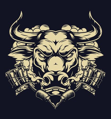 Vintage monochrome tattoo concept with serious bull head smoke cloud and tattoo machines isolated vector illustration