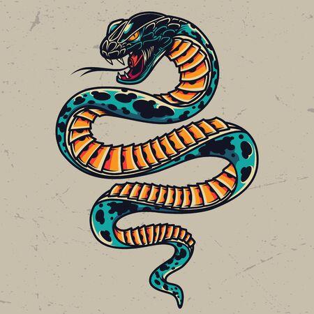 Giftige Schlange buntes Tattoo-Konzept im Vintage-Stil auf grauem Hintergrund isolierte Vektorillustration Vektorgrafik