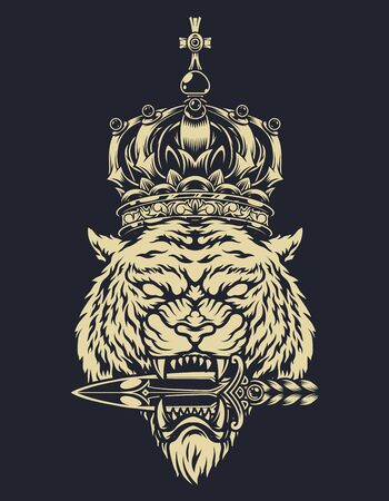 Vintage monochrome tattoo template with aggressive tiger head in royal ornate crown holding medieval dagger with its teeth isolated vector illustration