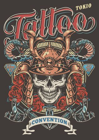 Colorful tattoo festival advertising poster with skull in samurai helmet poisonous snakes dagger roses and tattoo machines in vintage style vector illustration Ilustrace