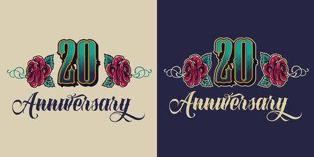 Vintage twentieth anniversary festive emblem with number inscription and blooming flowers isolated vector illustration Illusztráció